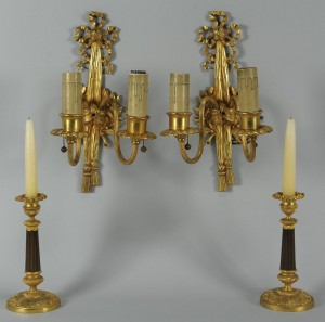 Lot 385: French Sconces and Candlesticks