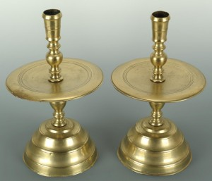 Lot 386: Pair 18th c. Brass Dutch Candlesticks