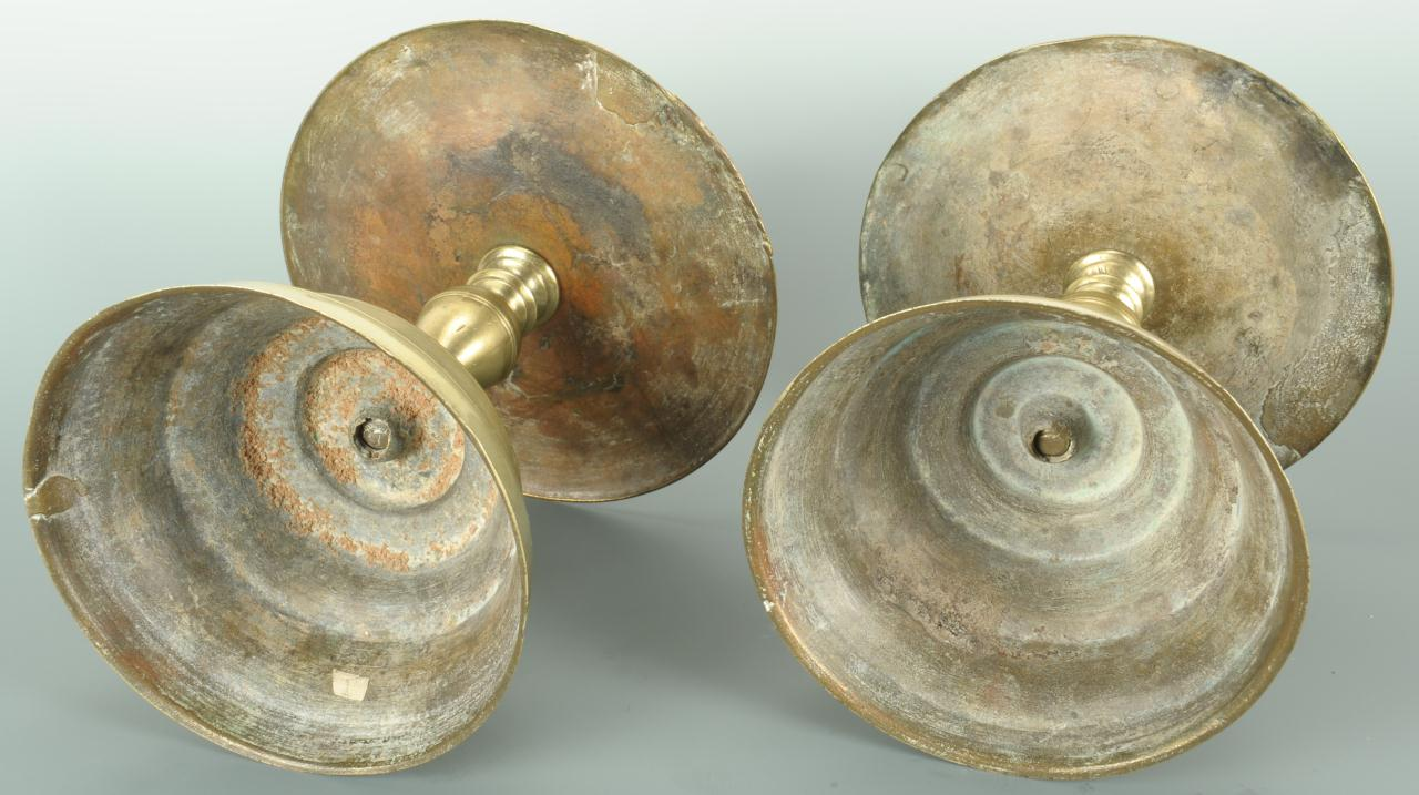 Lot 386: Pair 18th c. Brass Dutch Candlesticks