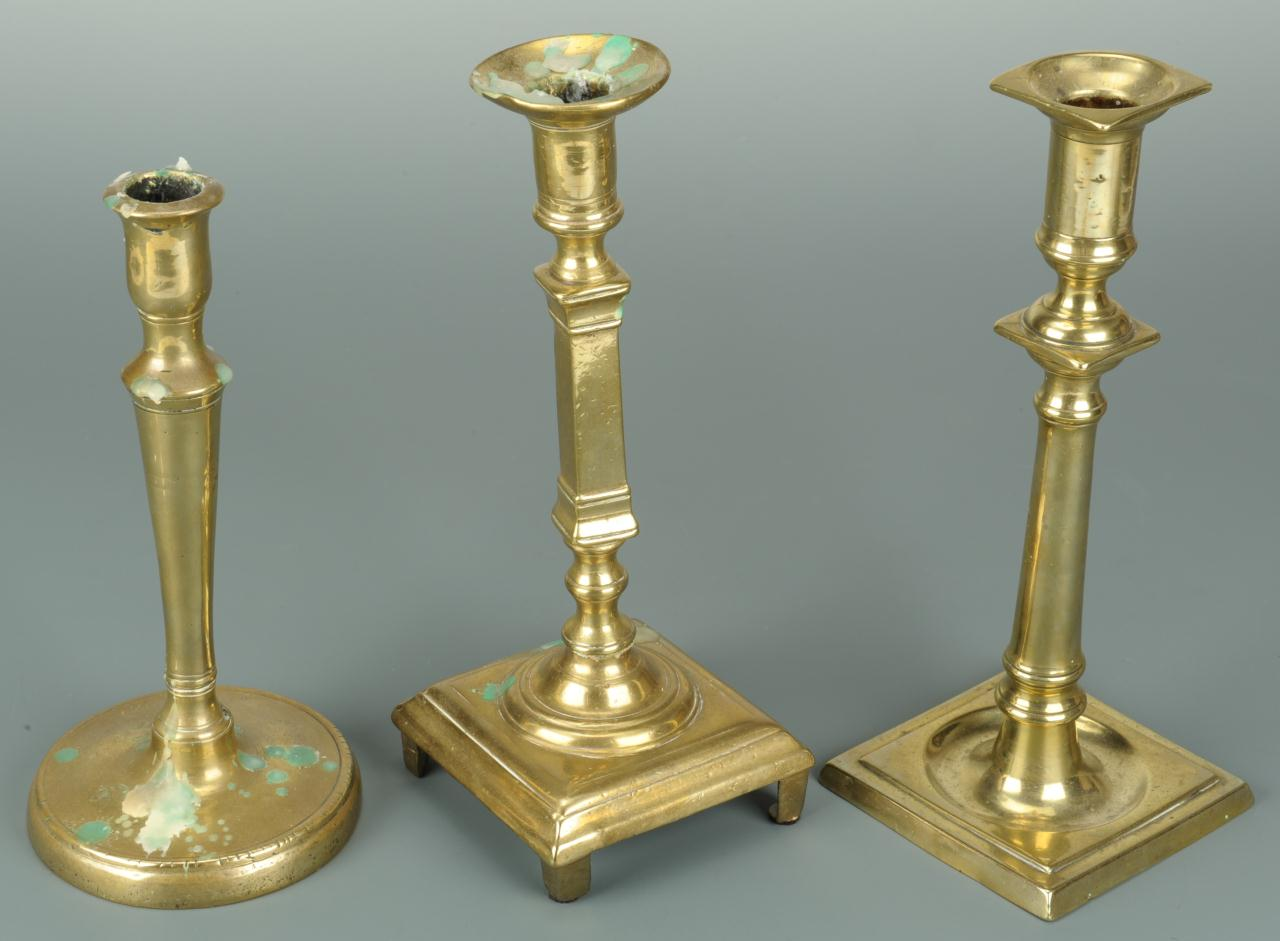 Lot 387: Grouping of 3 European Candlesticks