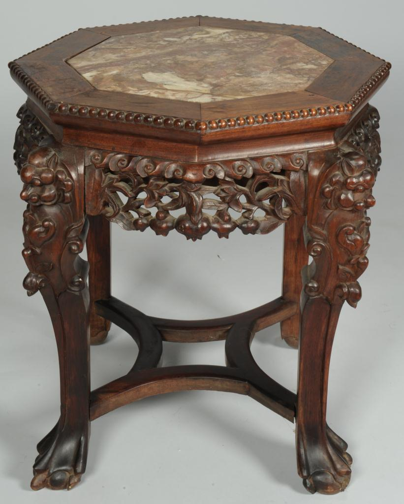 Lot 388: Chinese carved rosewood fern stand