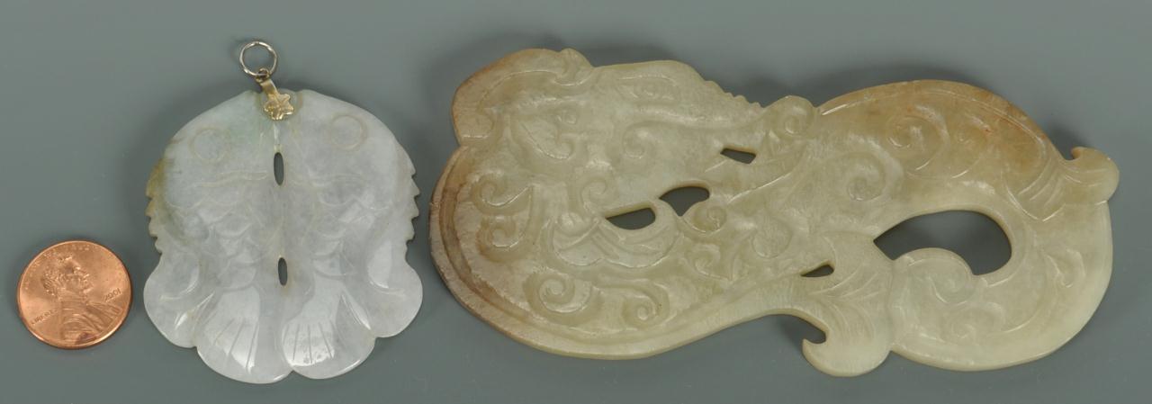 Lot 390: 2 pcs Chinese Carved Jade, Dragon and Fish Pendan