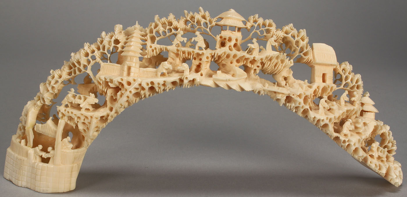 Lot 392 5 Pieces Carved Ivory Bridge And Elephants