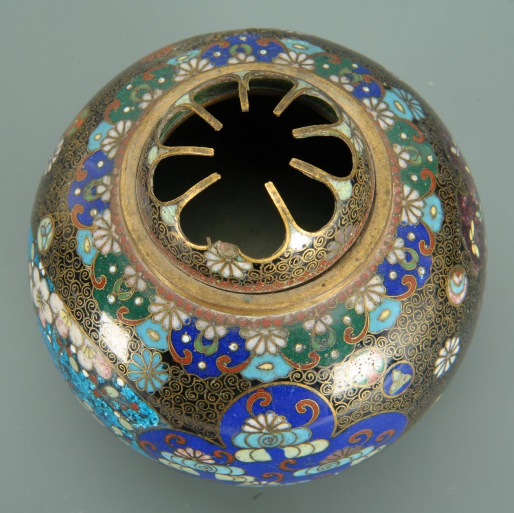 Lot 394: 4 pcs. Chinese Cloisonne including jars and flower