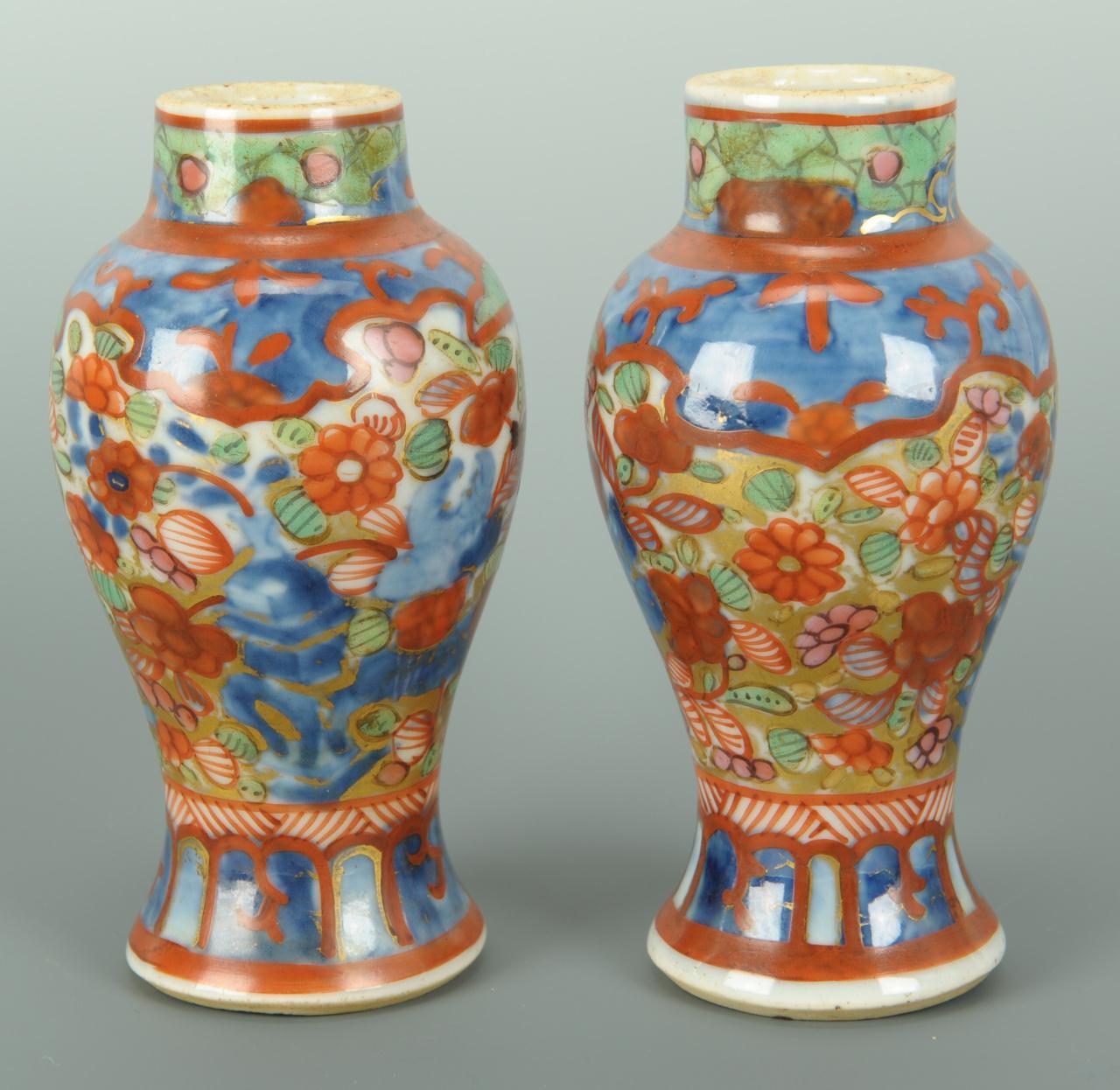 Lot 395 Pair Red Cinnabar Vases Amp Pair Imari Vases