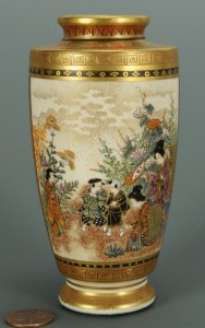 Lot 396: Small Meiji Period Satsuma vase, signed