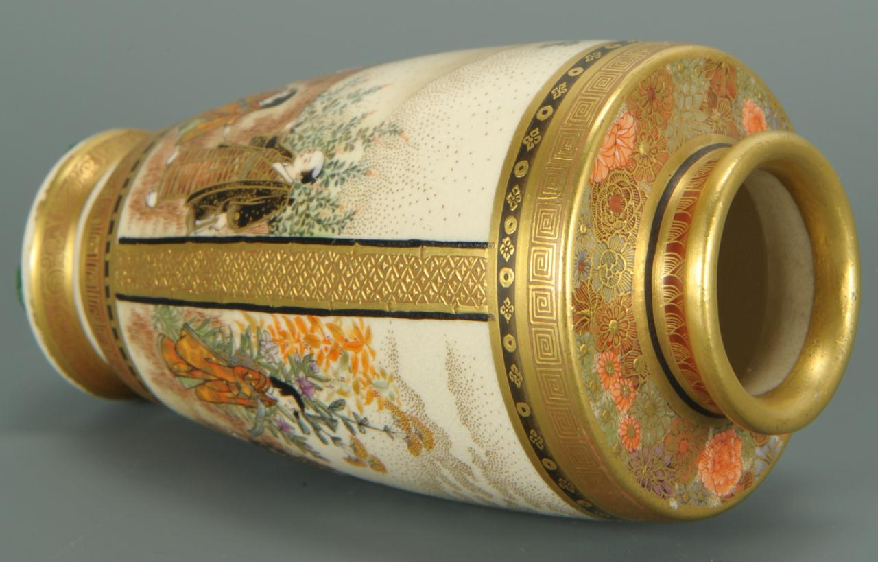 Lot 396: Small Meiji Period Satsuma vase, signed