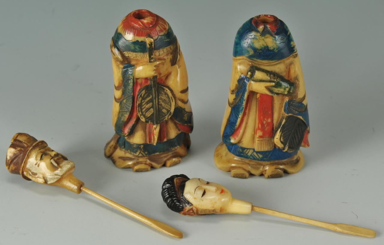 Lot 398: 2 figural ivory snuff bottles and a netsuke