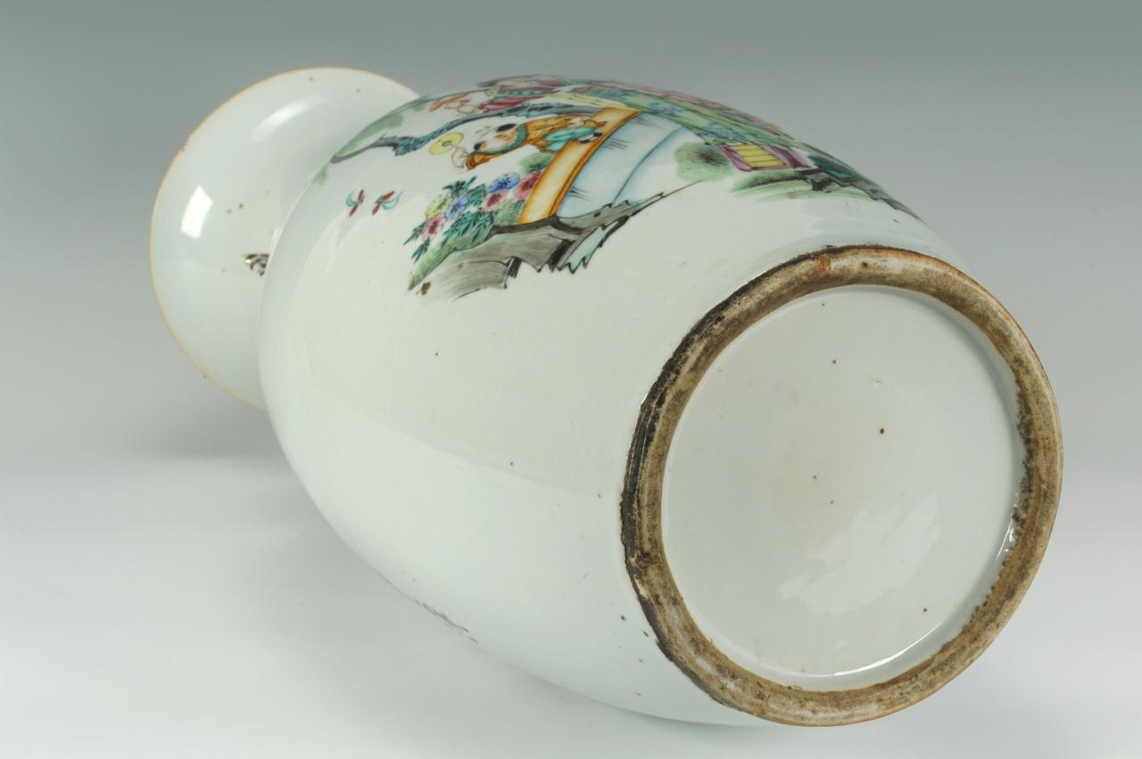 Lot 405: Chinese Porcelain Temple Vase and Porcelain Plate