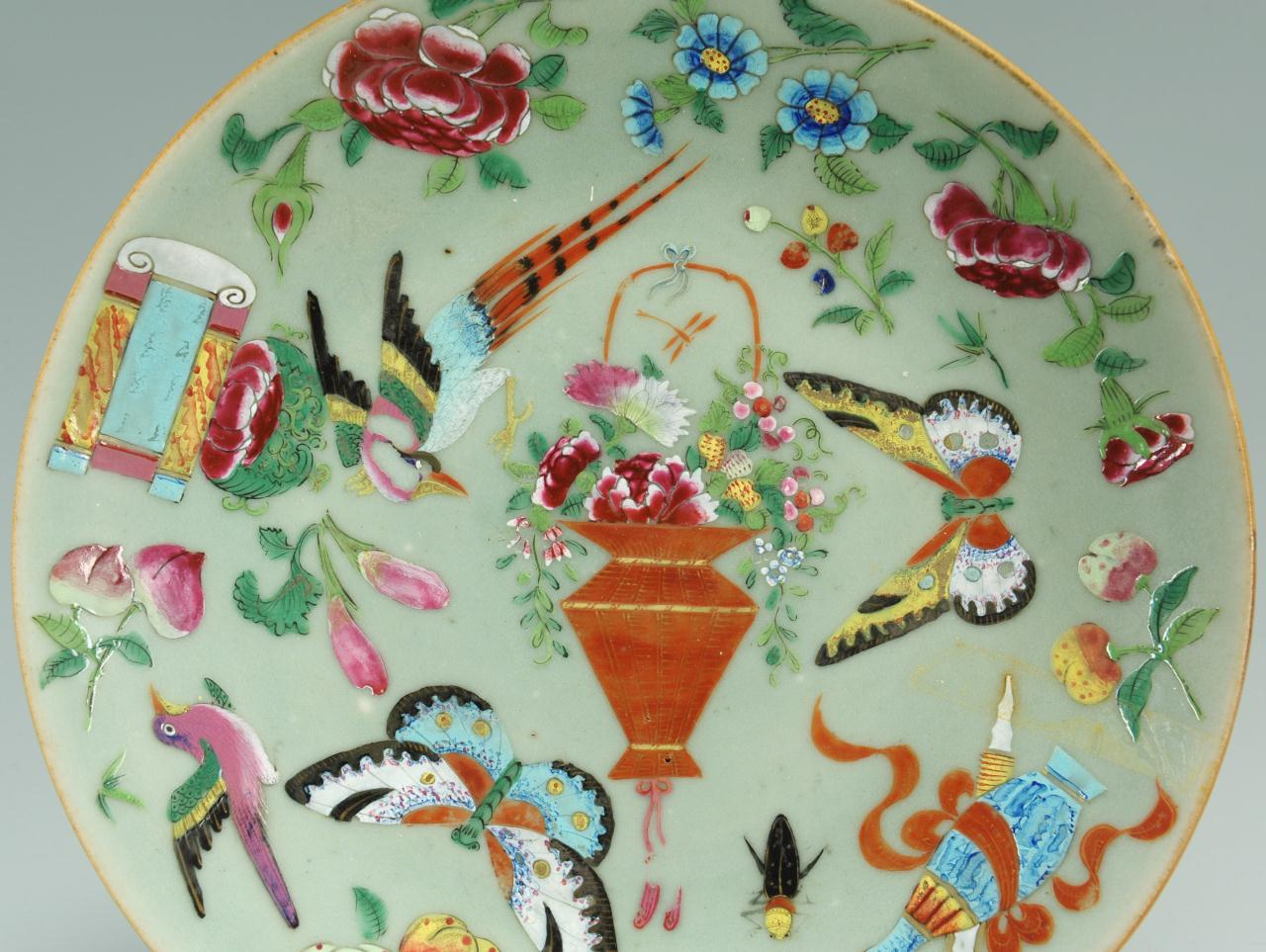 Lot 406: Chinese enameled celadon plate