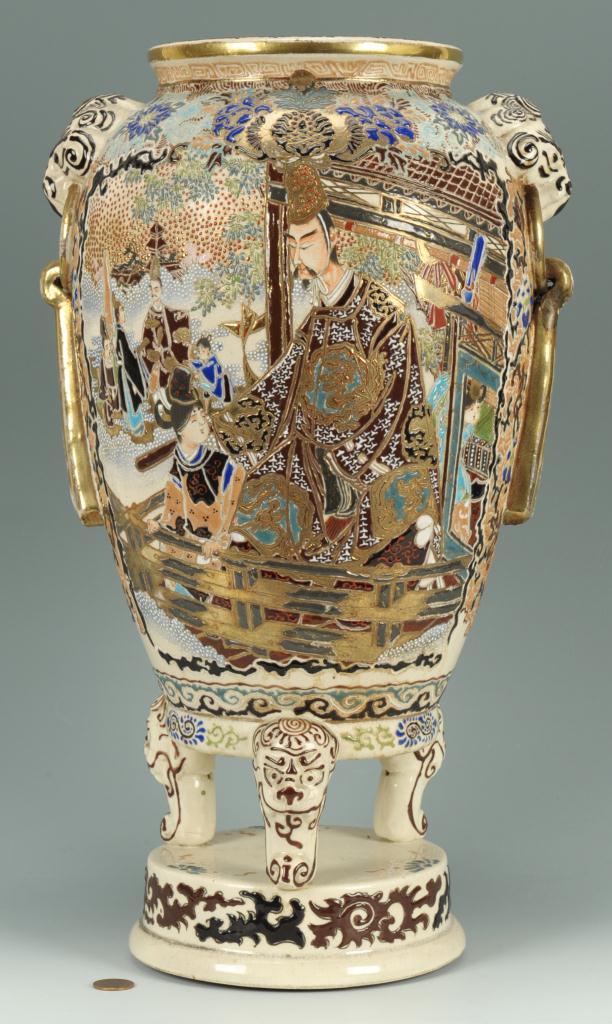 Lot 409: Large Japanese Footed Satsuma Vase