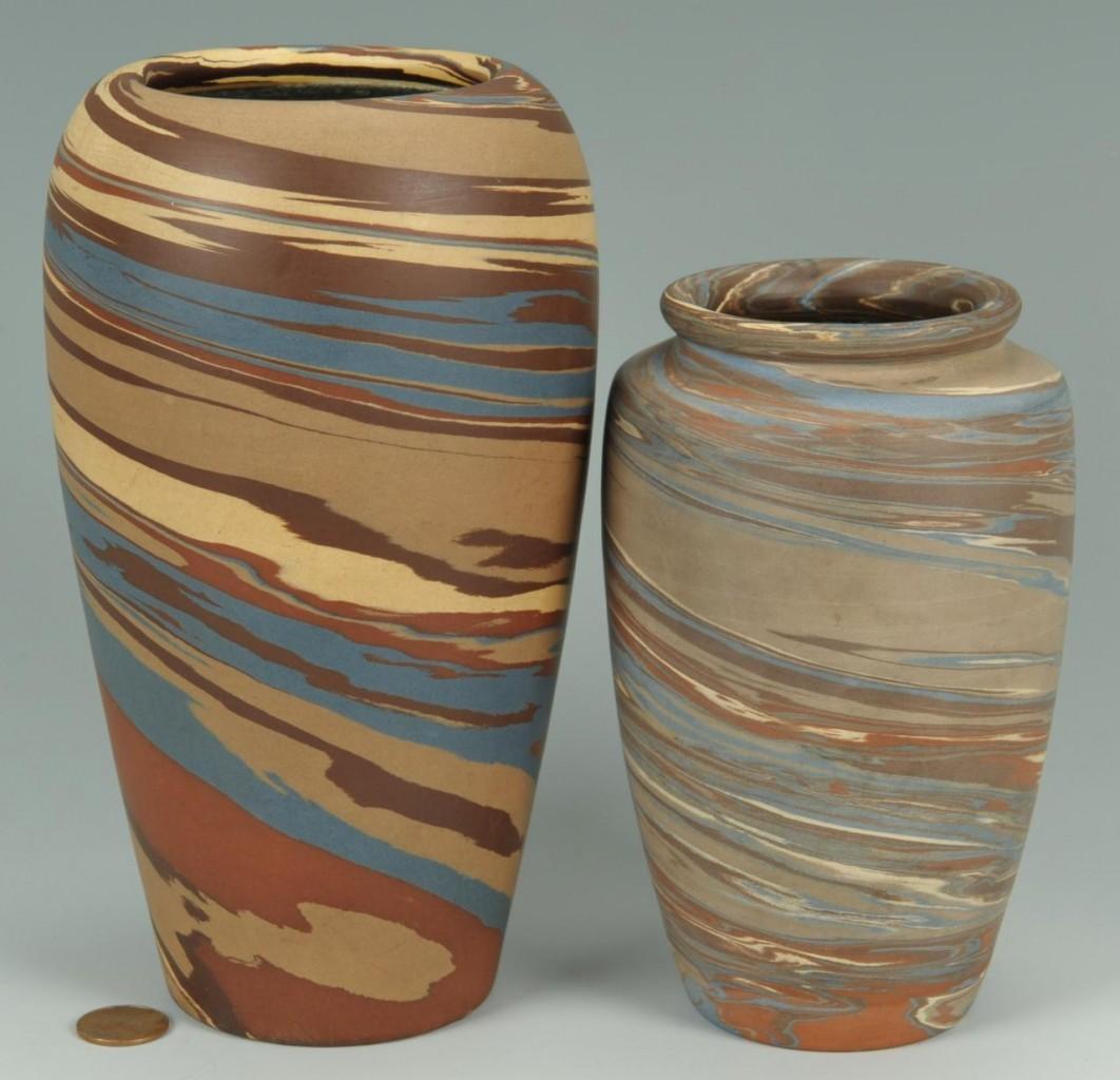 Lot 410: 2 Niloak Mission Ware Vases
