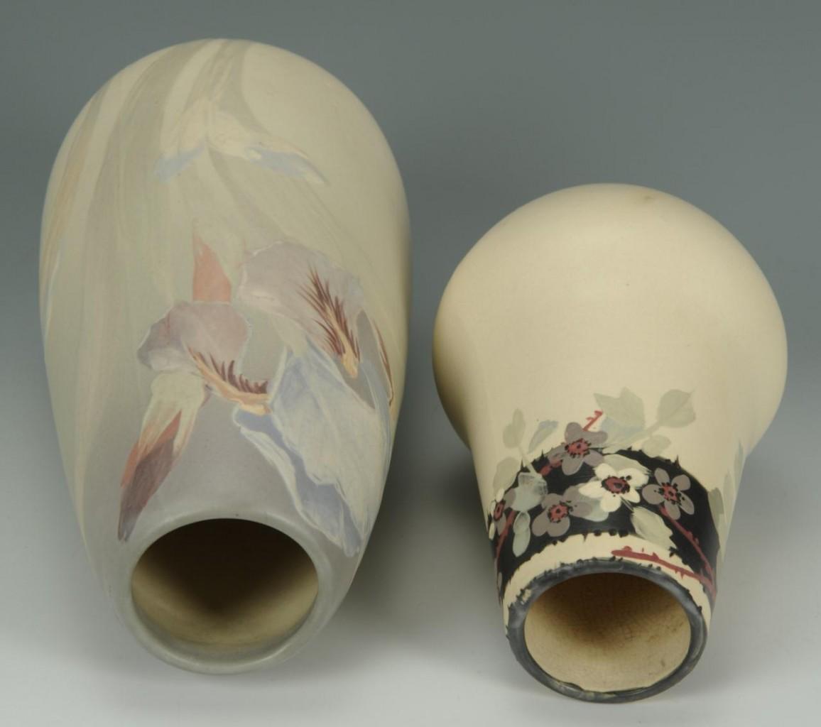 Lot 412: 2 Weller Art Pottery Floral Vases