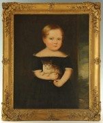 Lot 41: American School, Portrait of a Child with Kitten