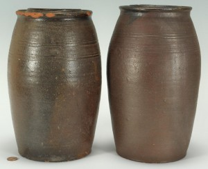 Lot 426: Pair of Large East TN Preserving Jars, attrib. Mor