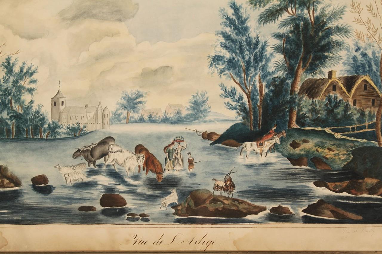 Lot 433: Continental School, watercolor landscape
