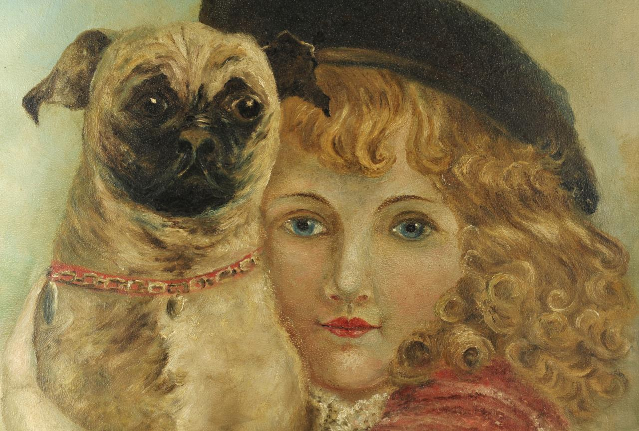 Lot 435: Folk art painting of girl with dog