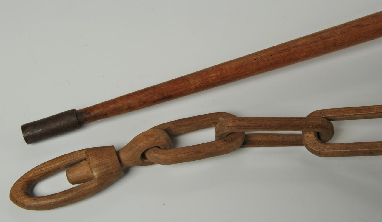 Lot 437: Folk Art Carved Chain and Campaign Cane