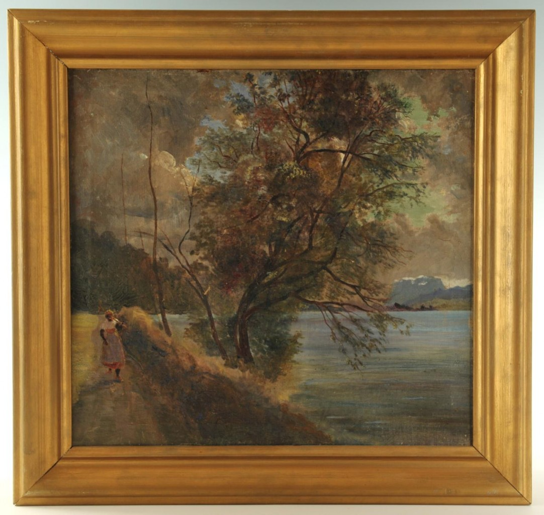 Lot 43: Southern School, landscape with African American f