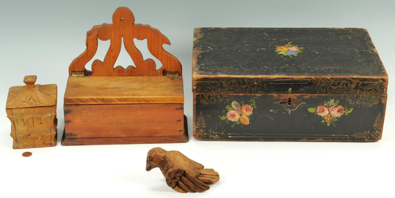 Lot 441: Grouping of Decorative Wood Items, 4 total
