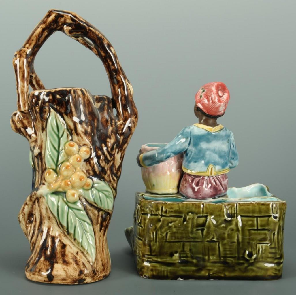 Lot 445: Majolica figural match striker and spill vase