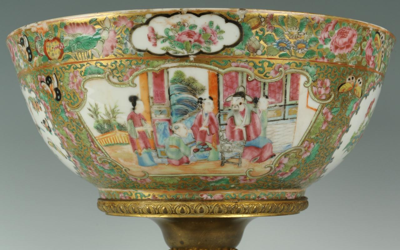 Lot 450: 19th C. Bronze Mounted Rose Medallion Bowl