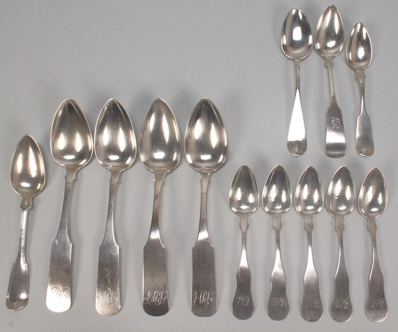 Lot 456: Boston coin silver flatware, 13 pcs