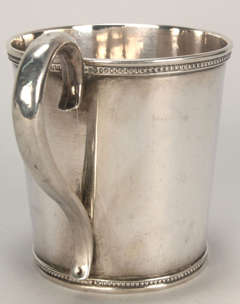 Lot 458: Coin silver mug with Pickering inscription
