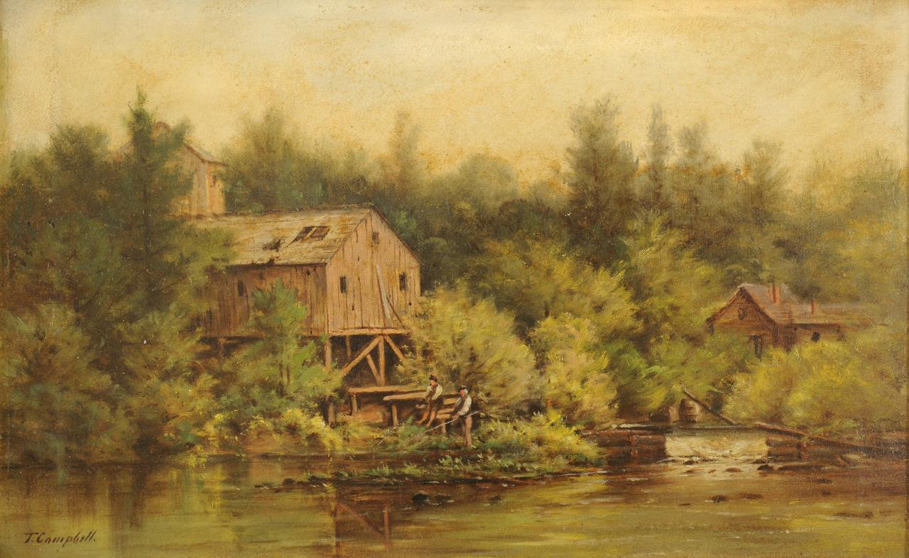 Lot 45: Thomas Campbell oil on board, Stream w/ Mill
