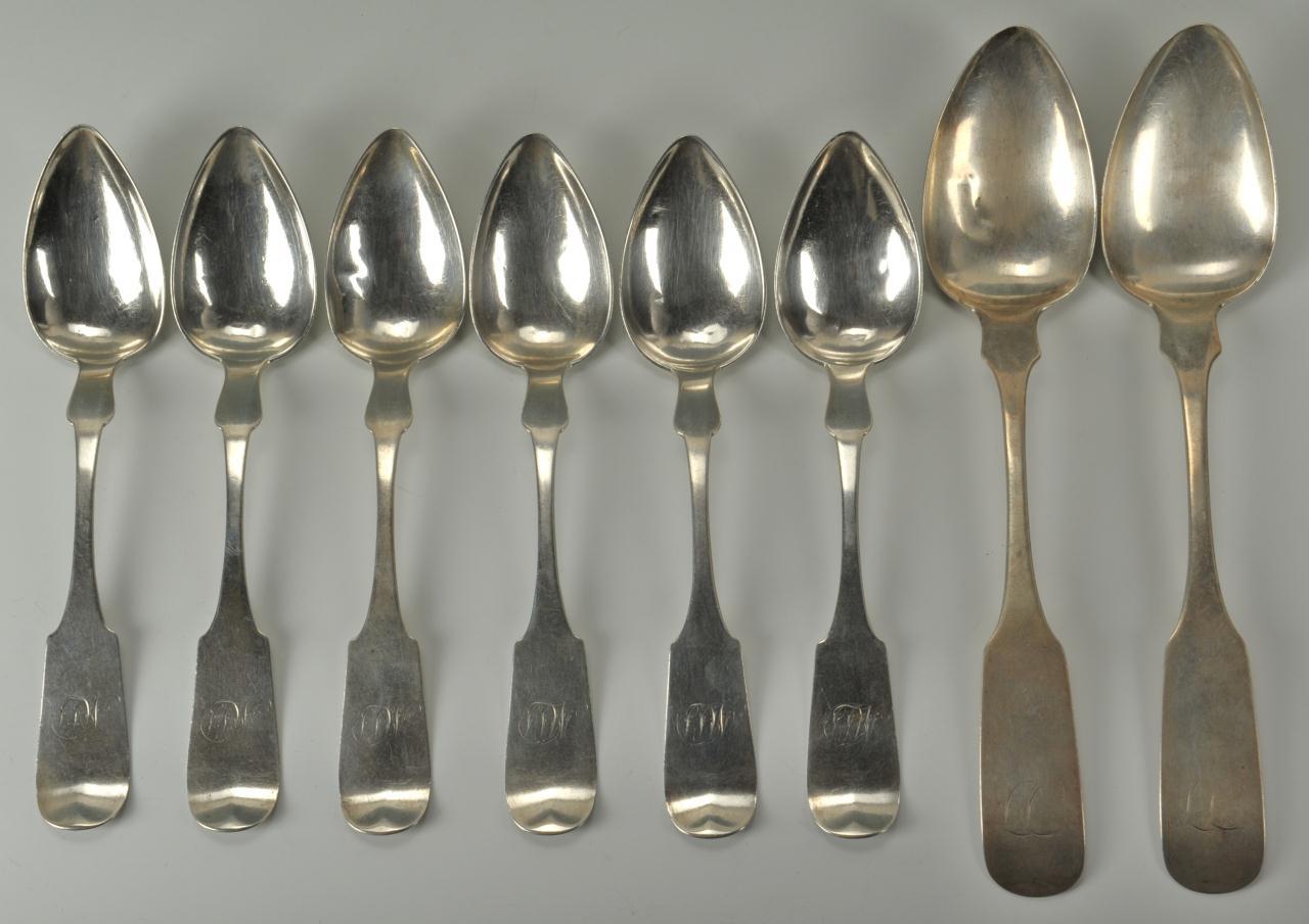 Lot 460: 8 Philadelphia PA. Coin Spoons, Hildeburn