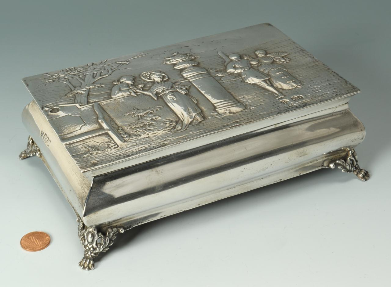 Lot 461: English Box with Sterling Overlay