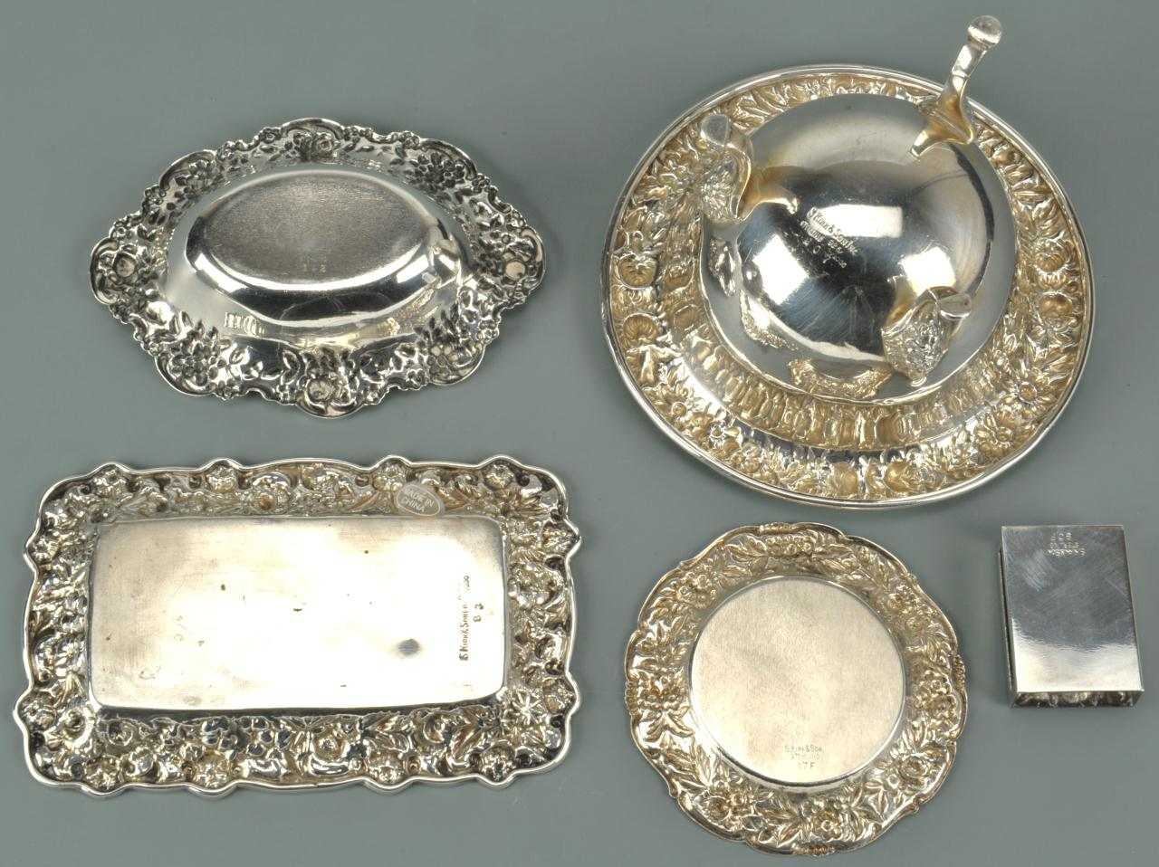 Lot 471: Five Kirk Repousse sterling silver table items