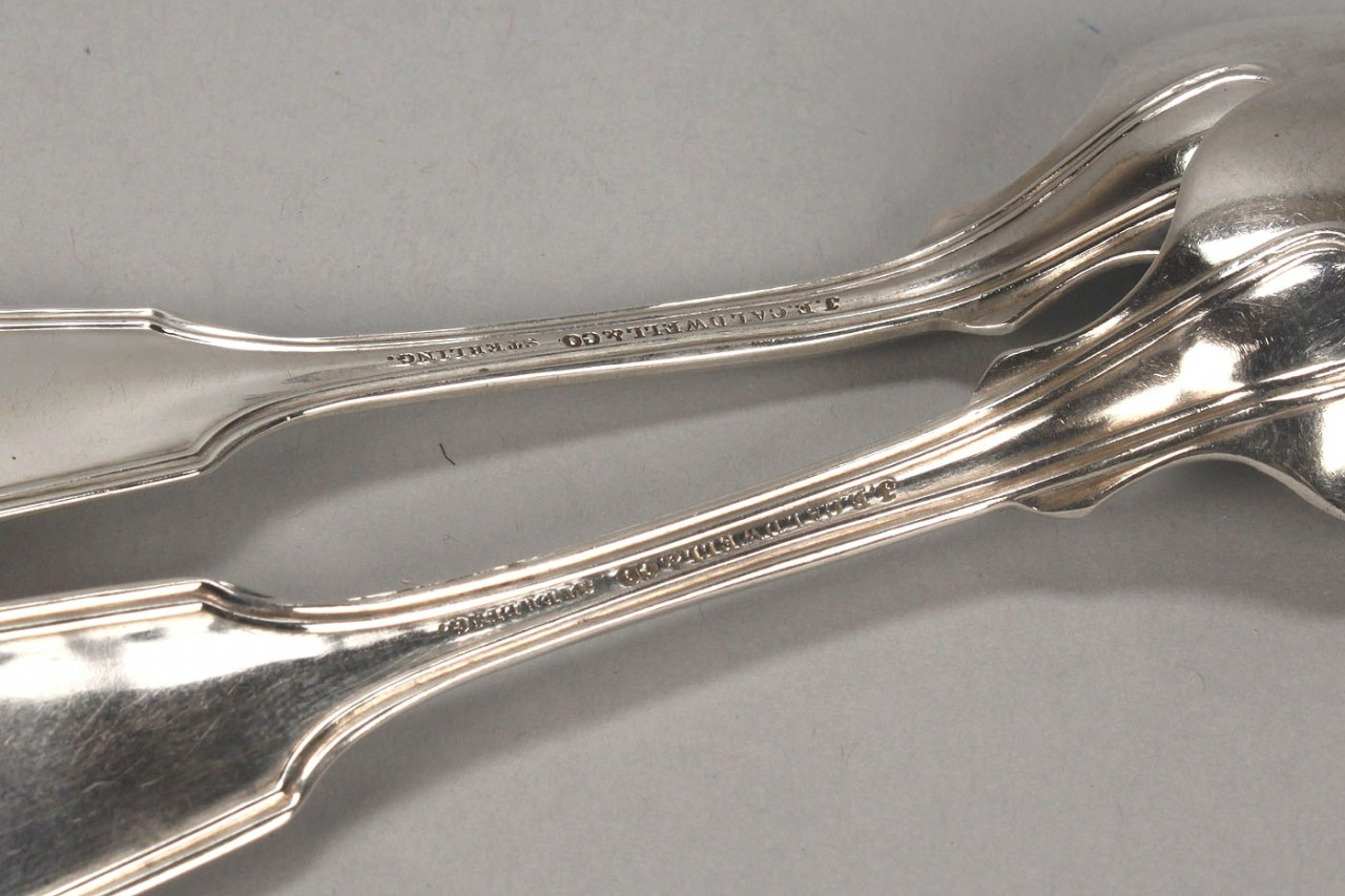 Lot 473: 12 Caldwell sterling spoons & Whiting sterling Pie