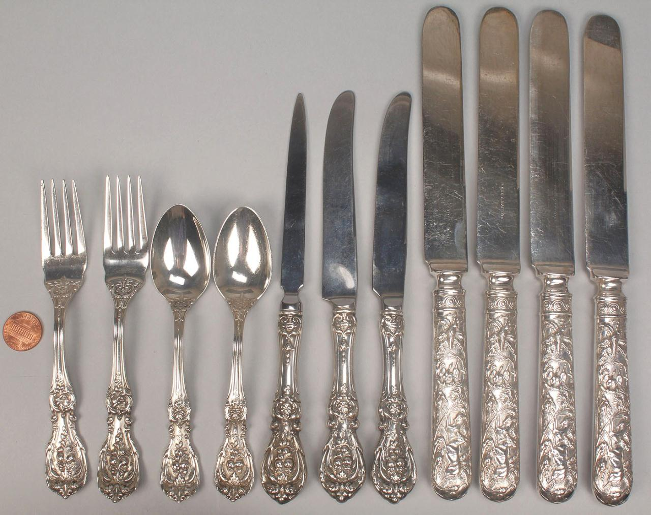 Lot 474: 11 pcs Reed & Barton flatware inc. Francis I & Pet