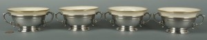 Lot 480: 4 Dominick & Haff Sterling Bouillon Cups w/ Liners