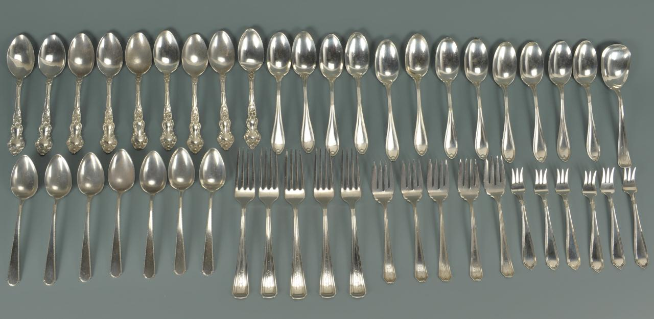 Lot 483: Assorted sterling forks and spoons, 45 pcs