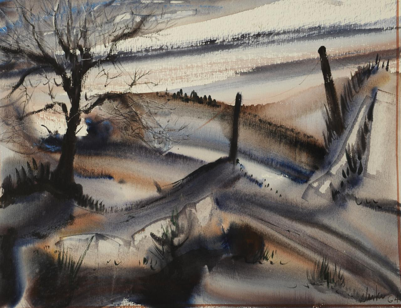 Lot 48: Richard Clarke watercolor, Winter Landscape