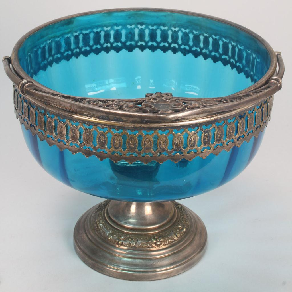 Lot 491: Silverplate Mounted Glass Bowl and Wine Pitcher