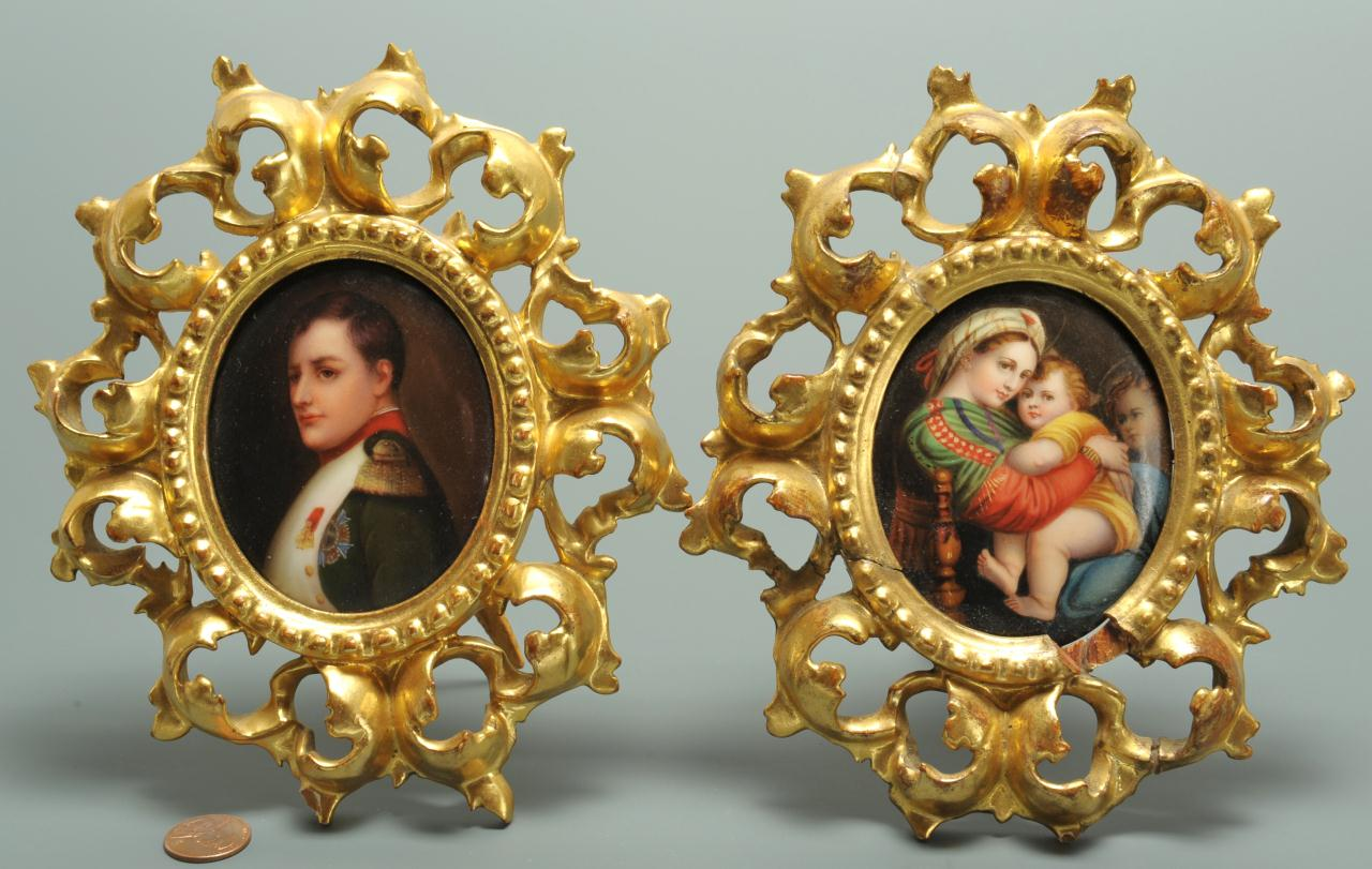 Lot 495: 2 porcelain miniatures: Napoleon and Madonna with