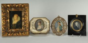 Lot 496: 4 Miniature Portraits inc. Napoleon, Mary Stuart