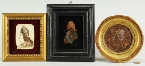 Lot 497: 3 Miniature Portraits: Louis XIV, Franklin, French