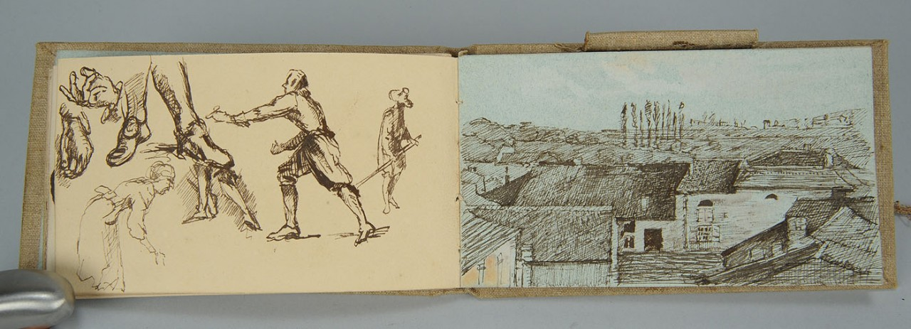 Lot 499: French sketchbook, 80 watercolors and drawings