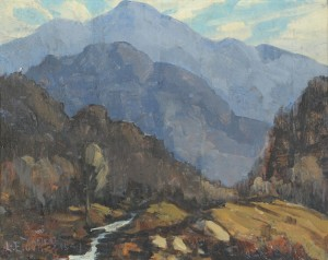 Lot 49: Louis Jones, Mountain Landscape painting