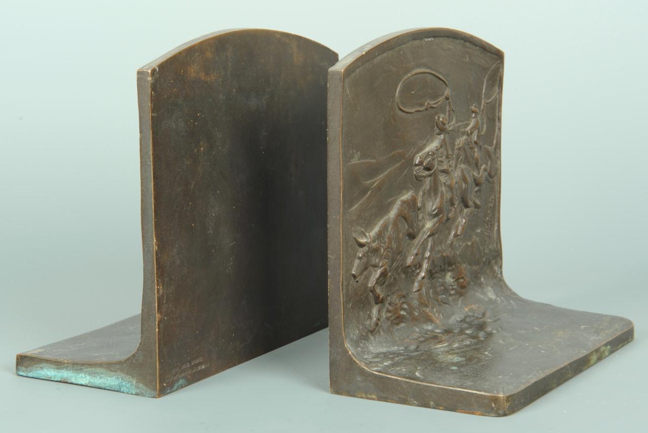 Lot 502: Bronze Bookends, signed J. L. Lambert
