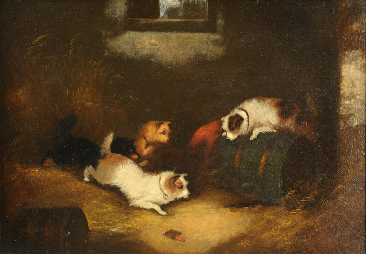 Lot 504: Oil on canvas of 4 dogs, style of George Armfield