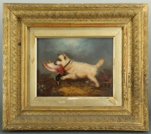 Lot 505: Oil on board of a Terrier, style of George Armfiel