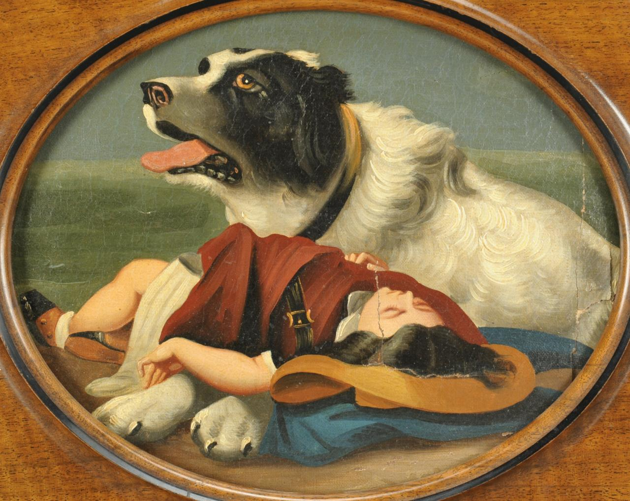 Lot 506: 19th c. oil on panel painting of dog and child