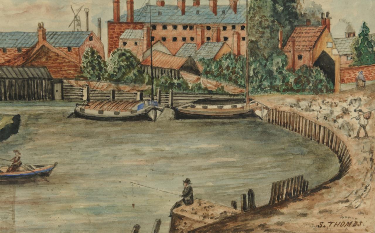 Lot 507: English Cityscape Watercolor signed S. Thomas