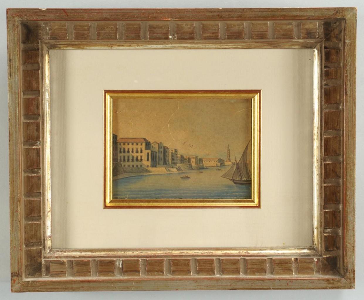 Lot 508: Horace Vernet watercolor, Mediterranean Coast