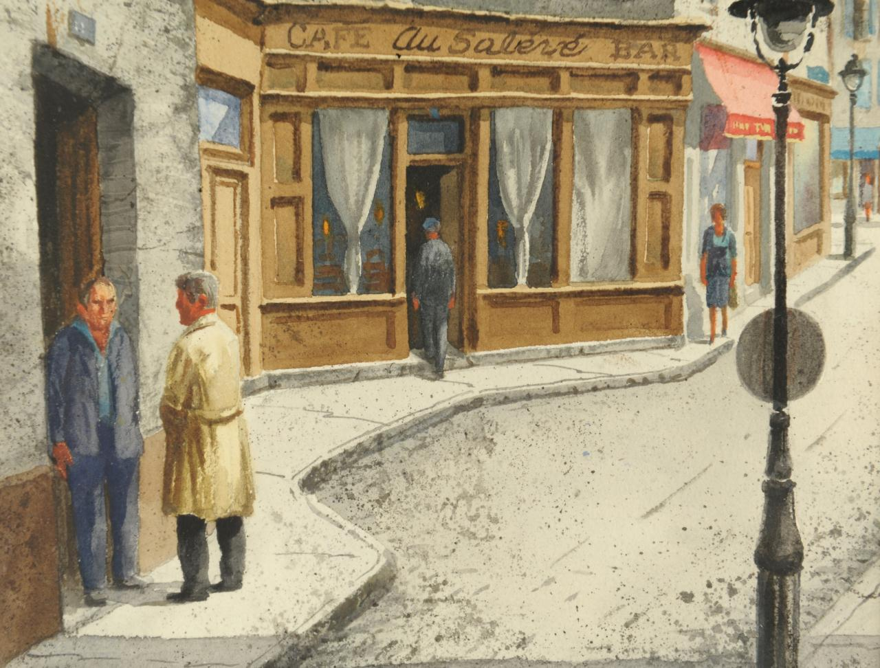 Lot 517: Henry Gasser Watercolor, Paris Scene